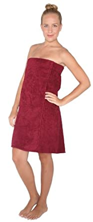 Arus Women's Adjustable Velcro Closure on Chest Turkish Cotton Shower Bath Wrap S/M Burgundy