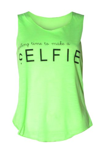 """Womens """"Darling Time To Make A Selfie """" Vest Top (M8) ((Us 4/6) (Uk 8/10), Neon Green)"""