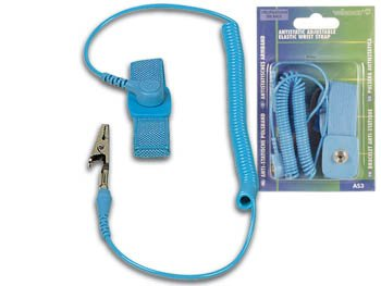 Amico Anti-static Adjustable Elastic Wrist Strap With Coiled Cords