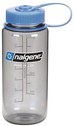 Nalgene Tritan 1-Pint Wide Mouth Bpa-Free Water Bottle,Gray With Blue Lid