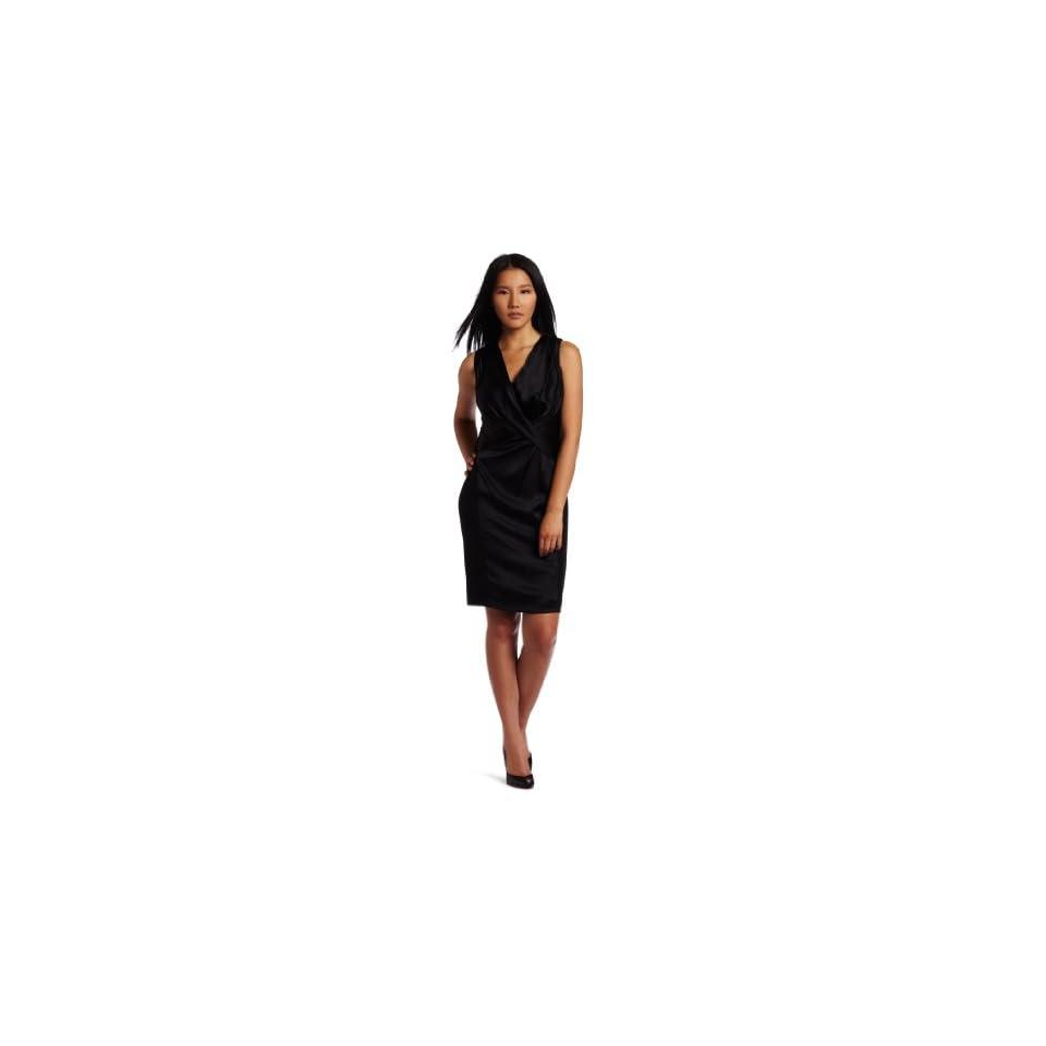 Anne Klein Womens Silk Charmeuse Gather Front Dress