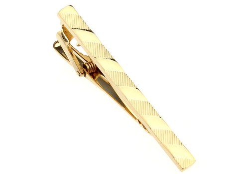 Gold Repeating Stripe Pattern Men Tie Clip