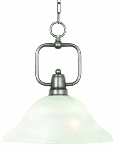 Yosemite Home Decor 92251-1Sn Bridalveil Pendant With Frosted Alabaster Shades, 1-Light, Satin Nickel front-484765