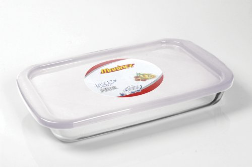 "Marinex Bakeware Medium Rectangular Glass Roaster with Plastic Lid, 13-5/8"" x 8-1/8"" x 2"""