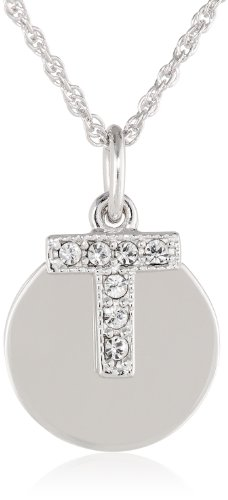 """Sterling Silver Crystal Block Initial """"T"""" Disc Pendant Necklace, 18"""""""