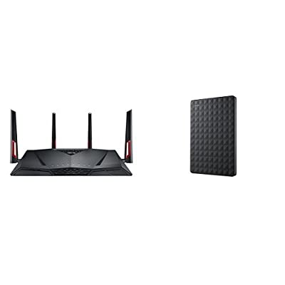ASUS RT-AC88U Router and Seagate Expansion 1TB Portable External Hard Drive Bundle