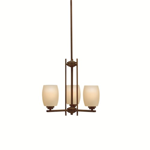 B0014HCUPG Kichler Lighting 1894OZ Eileen 3-Light Chandelier, Olde Bronze with Umber-Etched Glass