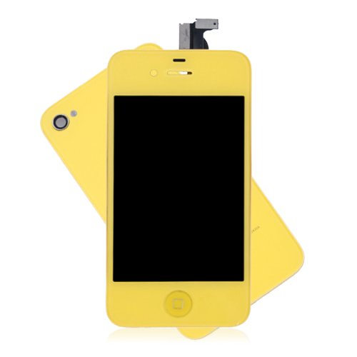 Generic Touch Screen Digitizer Glass With Flex Ribbon Cable & Lcd Display Assembly + Back Battery Cover + Home Button For Iphone 4 Cdma(Verizon/Sprint Only, Not Fits For Gsm At&T/T-Mobile) (Yellow)