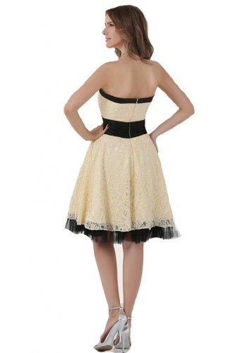 Sunvary Champagne and Black Lace Cocktail Dress Prom Gowns for Juniors Short US Size 4- Champagne