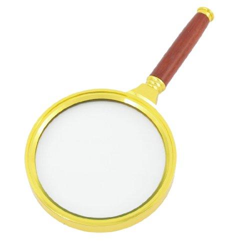 Gold Tone Frame Detachable Rosewood Handgrip 90mm Dia 10X Magnifier - 1