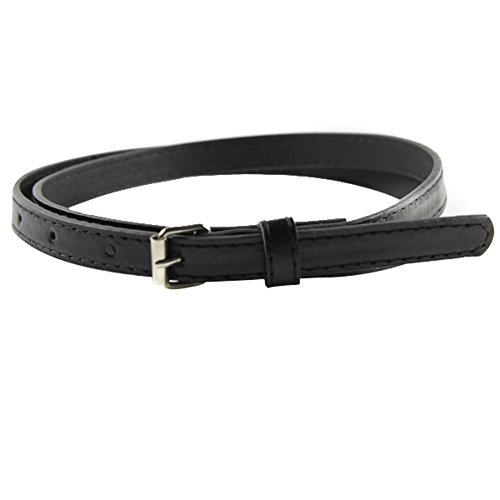 Weixinbuy Womens Faux Leather Candy Color Thin Adjustable Belt Black