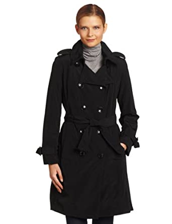 London Fog Women's Double Breasted Rain Trench With Zip and Out liner, Black, Small
