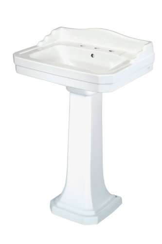 Pegasus FL-1930-8W Series 1930 8-Inch Widespread Lavatory Sink Combo, White (Pedestal Sink With Backsplash compare prices)