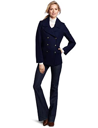 Tommy Hilfiger Women's Classic Double Breasted Wool Peacoat, Sapphire, 6