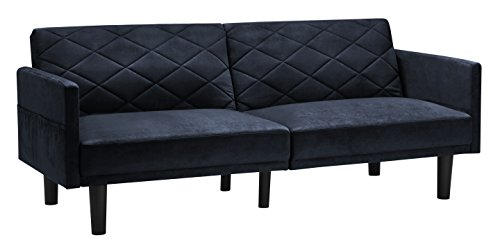 Cortland Futon Sofa Sleeper Bed, Convertible Couch, with Storage Pockets in Premium Microfiber, Available in Black, Gray and Navy (Navy) (Futon Sofa Bed Full Size compare prices)
