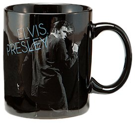 Vandor 47462 Elvis Presley Wertheimer 12 Oz Ceramic Mug, Black, White, And Blue
