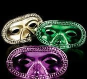 Mardi Gras Decor 24 Piece Metallic Mardi Gras Half Masks