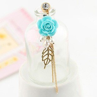 Earphone Jack Accessory Gold Plated Blue Flower