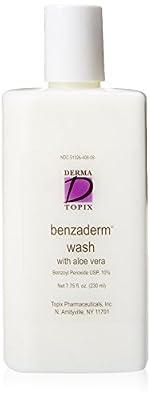 Derma Topix Benzoyl Peroxide 10%, Benzaderm Wash with Aloe Vera 7.75 oz. bottle