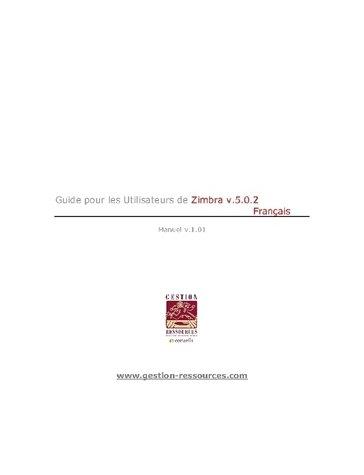 Guide utilisateur Zimbra 5.0.6 (Français)