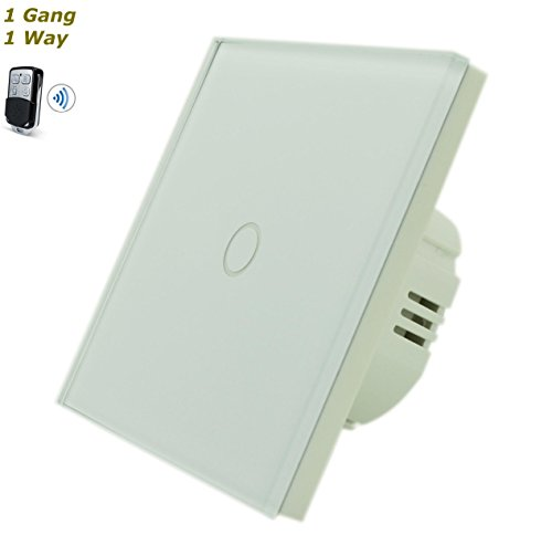 GLSTouch Full Crystal Glass Remote & Touch Panel Light Switch (On/Off) 1 Gang 1 Way White