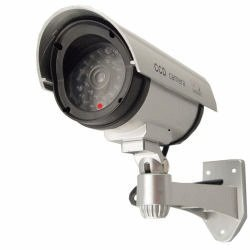 OUTDOOR FAKE / DUMMY SECURITY CAMERA w/ Blinking Light (Silver)