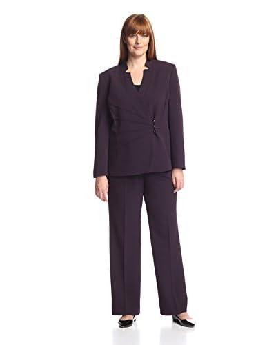 Tahari by ASL Plus Women's Notch Collar Pant Suit