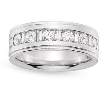 1.00 Ct Men'S Round Cut Diamond Wedding Band In Channel Setting In 18 Kt White Gold In Size 6.5