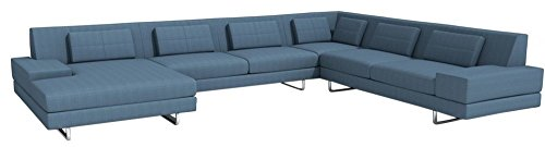 Afydecor 5 Seater Sectional Sofa Set for Large Living Room - Blue