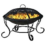 Black Steel Firebowl with mesh cover 61cm high, by Buchanan