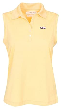 NCAA Louisiana State Fightin Tigers Ladies Sleeveless Solid Pebble Texture Polo Shirt by Oxford