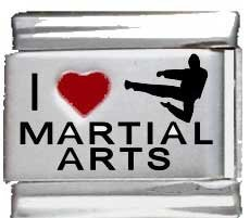 I Heart Martial Arts Red Heart Laser Italian Charm