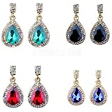 4 Pairs Gorgeous Crystal Teardrop Jewelry Dangle Ear Drop Earrings Women