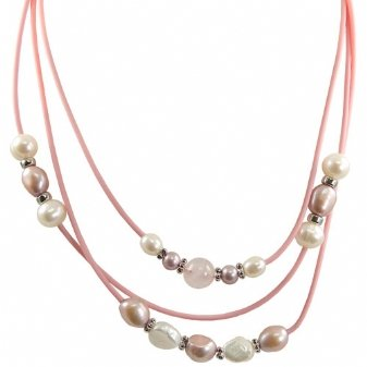Sterling silver white and dyed lavender freshwater cultured pearl rose quartz pink rubber necklace, 17.5-18.5