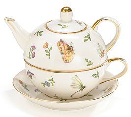 Buy Cheap Delicate Butterfly,Dragonfly And Flowers Porcelain Duo Teapot Wonderful Gift Idea