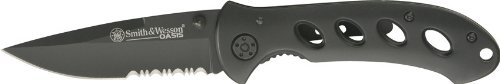 Smith & Wesson SW423BS Oasis Serrated Drop Point Blade Knife, Black Titanium Coated Handle and Blade     Smith & Wesson