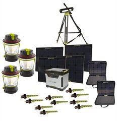 Goal Zero Yeti 1250 Solar Generator Kit With Cart, 4 Boulder 30 Solar Panels, 2 Panel Carrying Cases, 1 Solar Tripod (Holds 4 Panels), 3 Lighthouse 250, 10 Boulder Clips