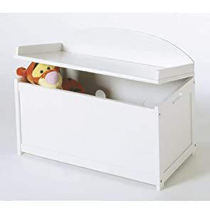 child 39 s wooden toy box chest white toys games. Black Bedroom Furniture Sets. Home Design Ideas