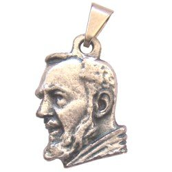 """Padre Pio medal - Small - Pewter (1.7cm-0.67"""")"""