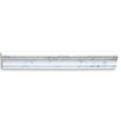 Carrara White Italian Carrera Marble Chair Rail Trim Molding 2 x 12 Polished