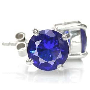 8MM Round Shape Sapphire Blue CZ 925 Sterling Silver Stud Earrings