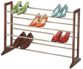 Closet Shoe Rack - Expandable and Stackable (Mahagony/Satin Nickel) (24.5