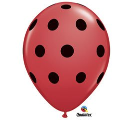 "Qualatex Red with Black Polka Dot Latex 11"" Balloons Pkg of 12"