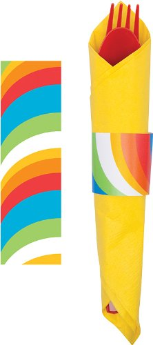 Creative Converting Sugar Buzz Printed Napkin Bands, 8 Count
