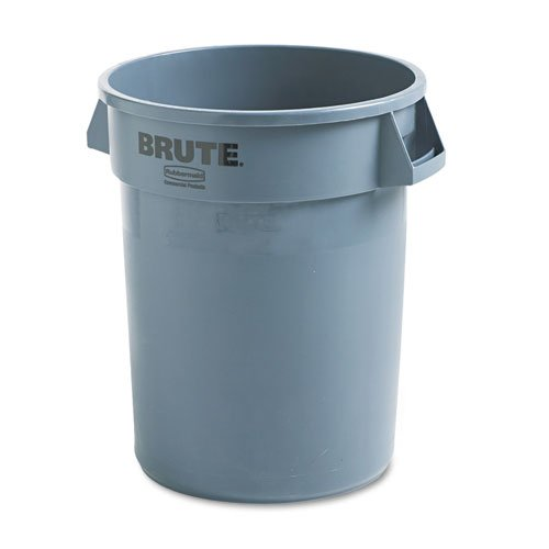 Rubbermaid Commercial Brute Refuse Container, Round, Plastic, 32 gal, Gray - Includes one each. купить