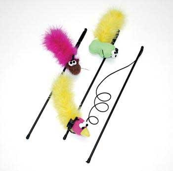 (Price/3)Spot Feather Boa Toy With Wand & Catnip