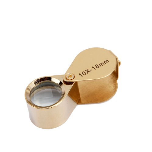 Mini 10X 18mm Jeweler Jeweler's Jewelry Loupe Magnifier Magnifying Glass Gold w/ Box