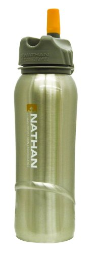 Nathan Stainless Steel 700 mL Flip Straw Bottle (Natural Steel)
