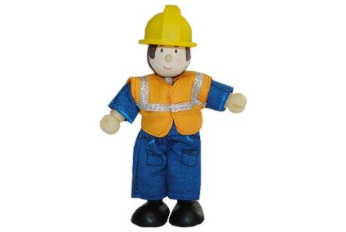 Biegepuppe Holz - Bauarbeiter blau - Budkins