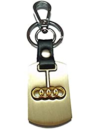 City Choice Beautiful Audi Alloy & Leather Car&Bike Keychain Locking Hook Keyring(Golden)